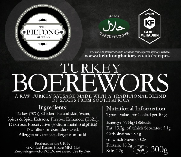 Turkey Boerwors Label