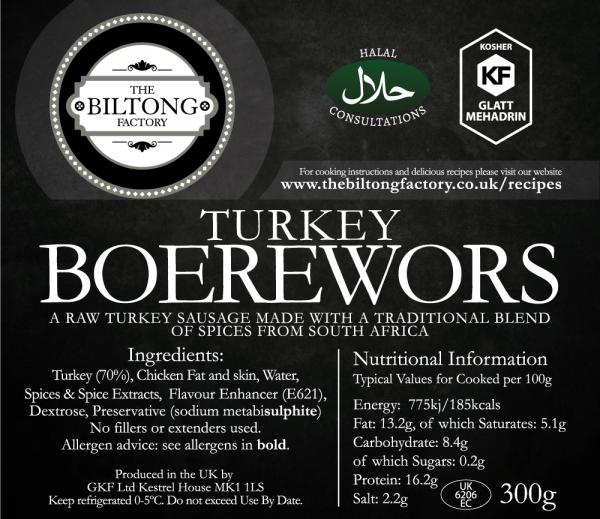 Turkey Boerwors Label